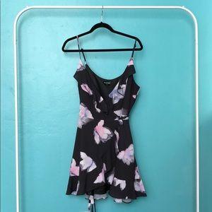 Bebe Black Floral Wrap Dress
